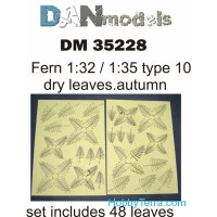 Fern leaves, yellow (dry leaves. autumn) in 1:32-1:35 scales: type #10