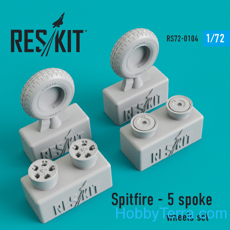 RESKIT  72-0104 Wheels set 1/72 for Spitfire (5 spoke wheels)