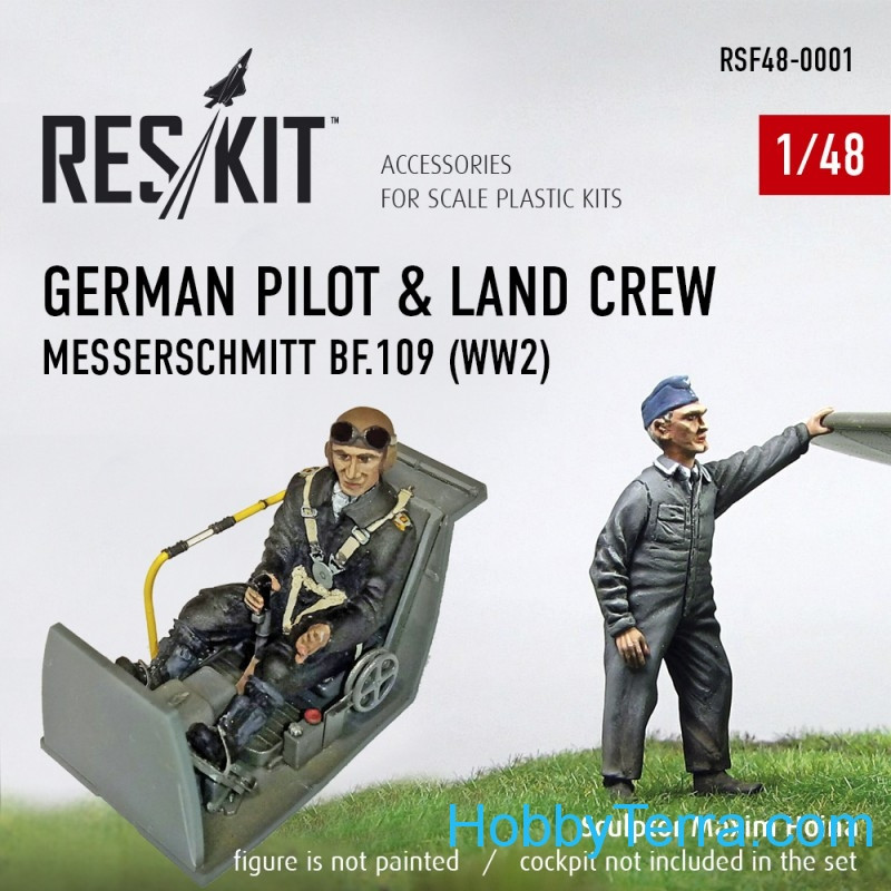 RESKIT  48-0001 German pilot & land crew Messerschmitt Bf.109 (WW2)