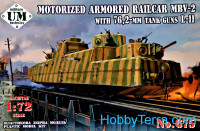 MBV-2 motorized armored railcar with 76,2-mm tank guns L-11