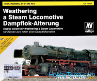 Train Color. Steam Engine Weathering Set (9 colours, 1 brushes & palette)